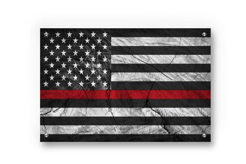 Thin Red Line (Honor Fire Fighters) Printed on Brushed Aluminum