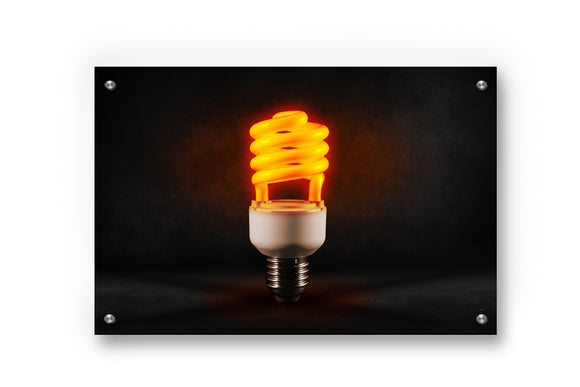 Fluorescent Light bulb Metal Wall Art Decor printed on Brushed Aluminum