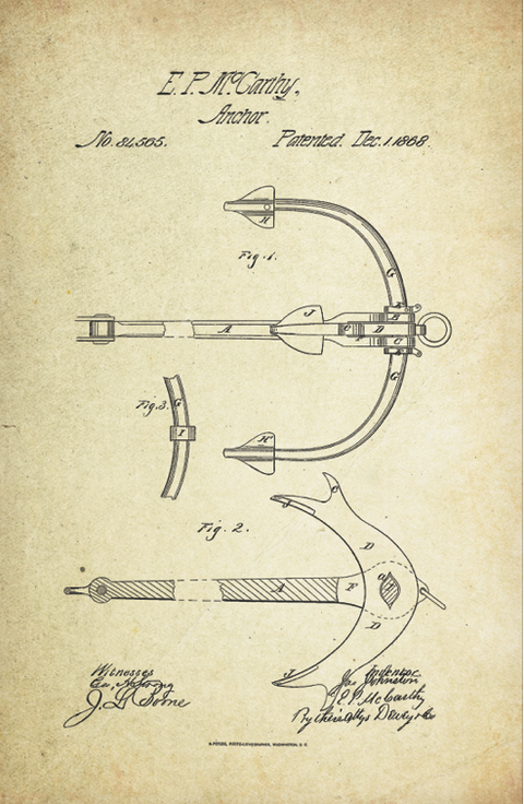 Anchor Patent Poster (1868, E.P. McCarthy)