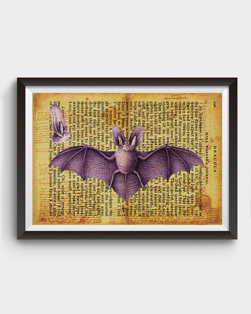 Vintage Bat Anatomy, Dracula Inspired Art Poster