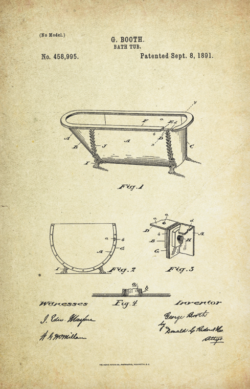 Bathtub Patent Poster (1891, G. Booth)