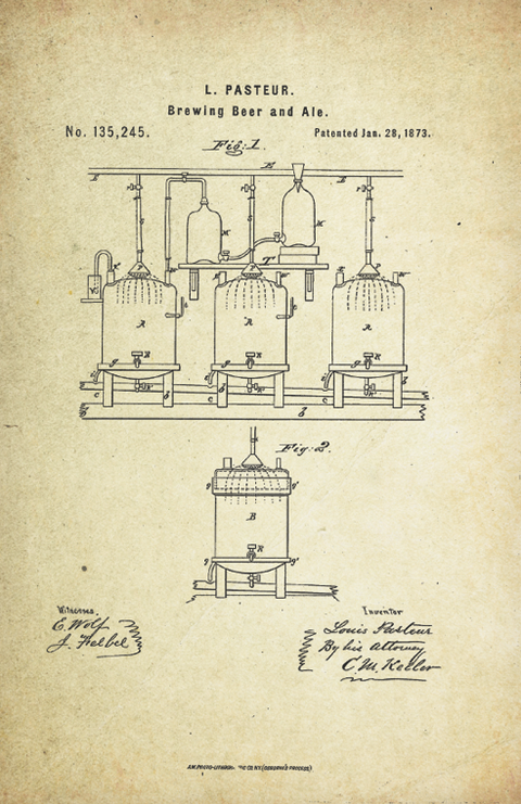 Beer Brewing Patent Poster (1873, Louis Pasteur)