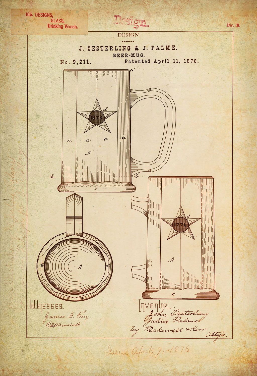 Beer Mug/Drinking Vessel Patent Poster Wall Decor (1876 by J. Oesterling & J. Palme)