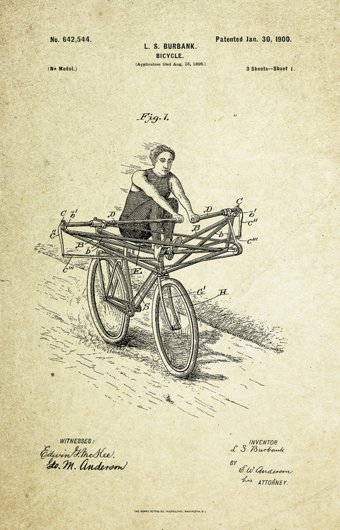 Unorthodox Bicycle Patent Poster (1900, L.S. Burbank)
