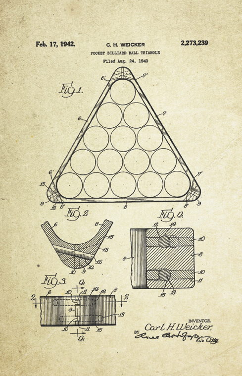 Billiard Ball Triangle Patent Poster (1940, C.H. Weicker)