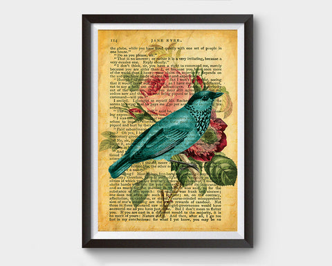 Vintage Bird & Flower Illustration, Jane Eyre Inspired Art Poster