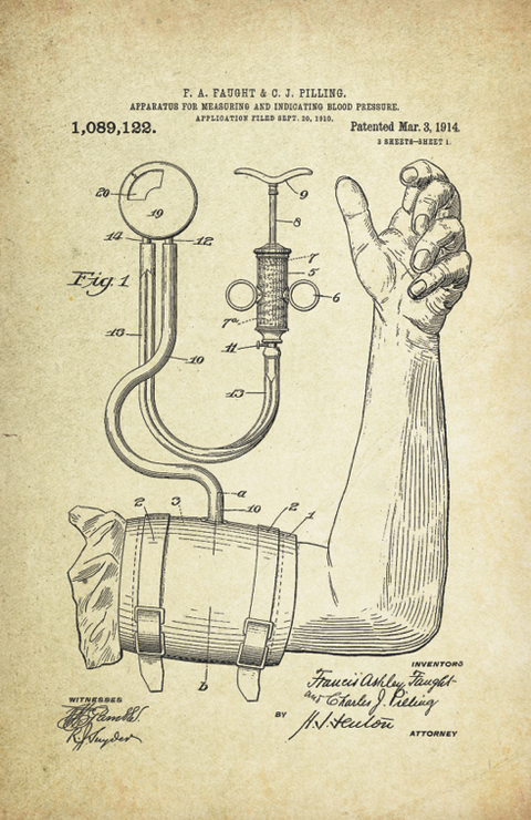 Blood Pressure Patent Poster (1914, F.A. Faught & C.J. Pilling)
