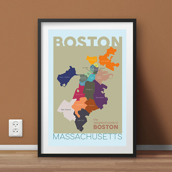 Boston Neighborhood Map Wall Art