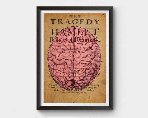 Vintage Brain Anatomy, Hamlet Inspired Art Poster