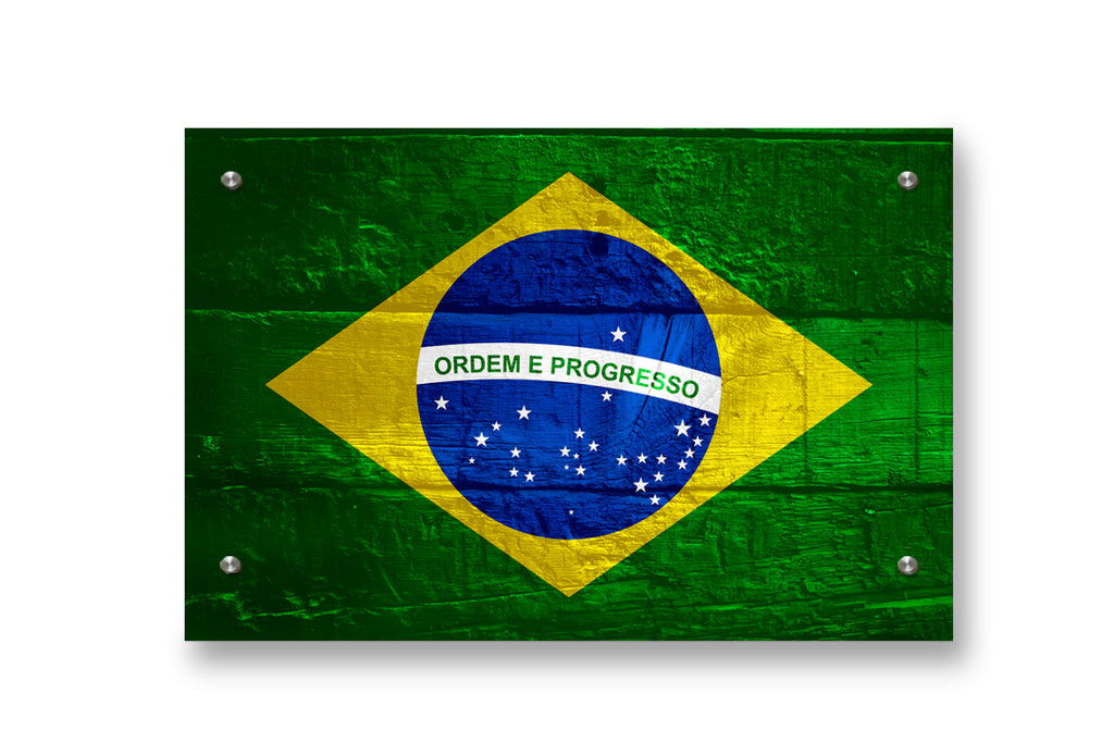 Brazil Flag Graffiti Wall Decor