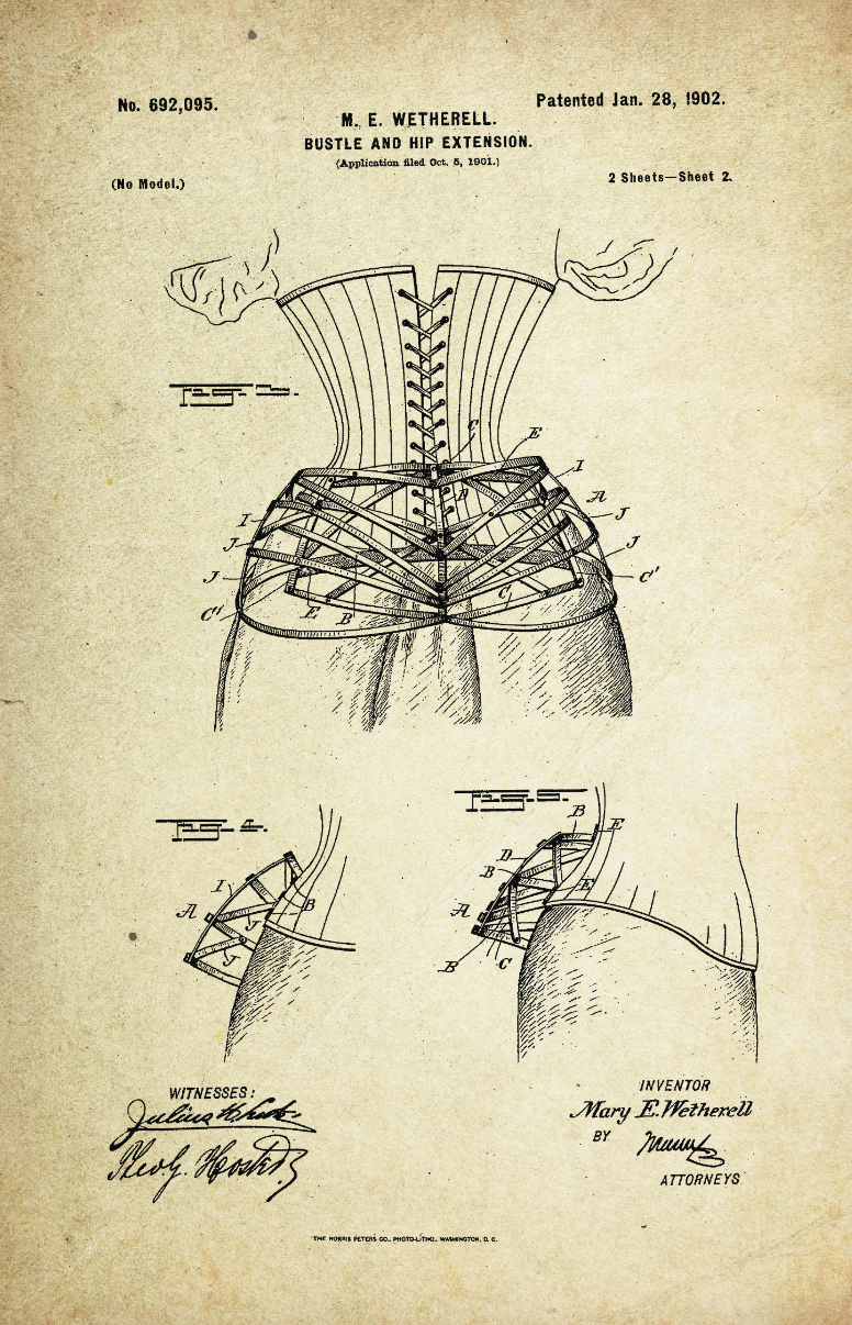 Bustle & Hip Extension Patent Poster (1902, M.E. Wetherell)