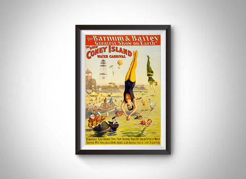 The Great Coney Island Water Carnival (Barnum & Bailey) Vintage Ad Poster