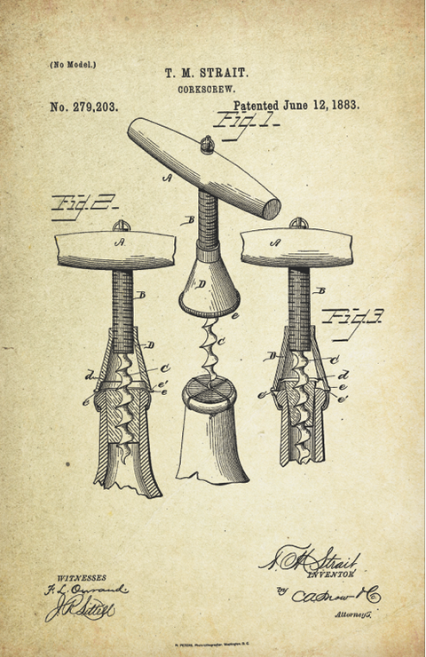 Corkscrew Patent Poster (1883)