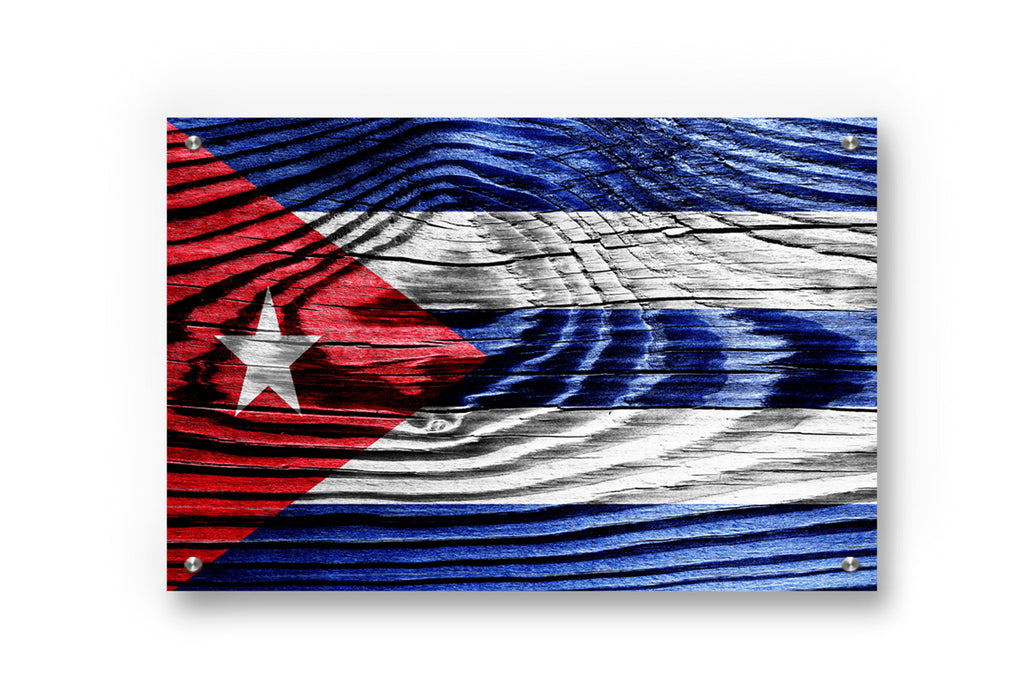 Cuba Flag Printed on Brushed Aluminum