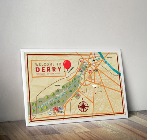 Stephen King's Derry, Maine Map Wall Art