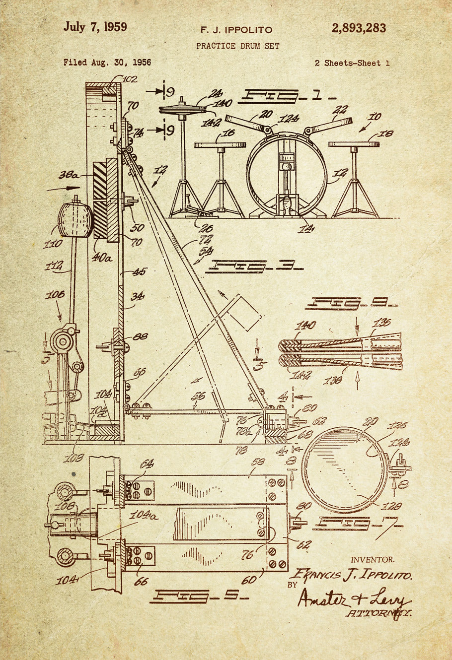 Drum Set Patent Poster Wall Decor (1959 by F.J. Ippolito)