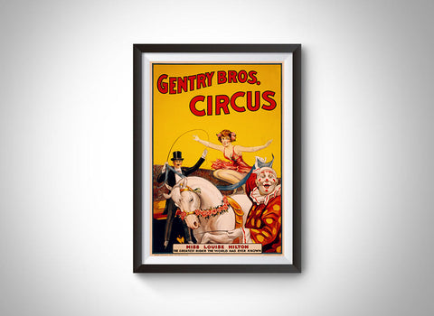 Gentry Bros. Miss Hilton Vintage Circus Vintage Ad Poster