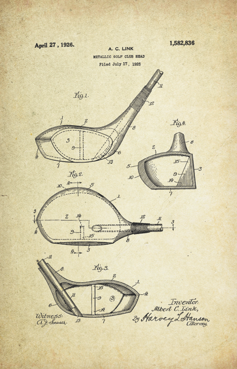 Golf Patent Poster (1926, A.C. Link)