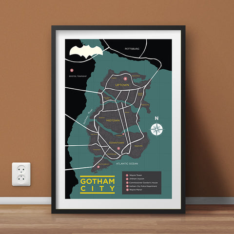 Batman's Gotham City Map Wall Art