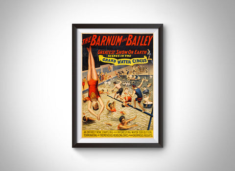Barnum & Bailey Grand Water Circus (c.1895) Vintage Ad Poster
