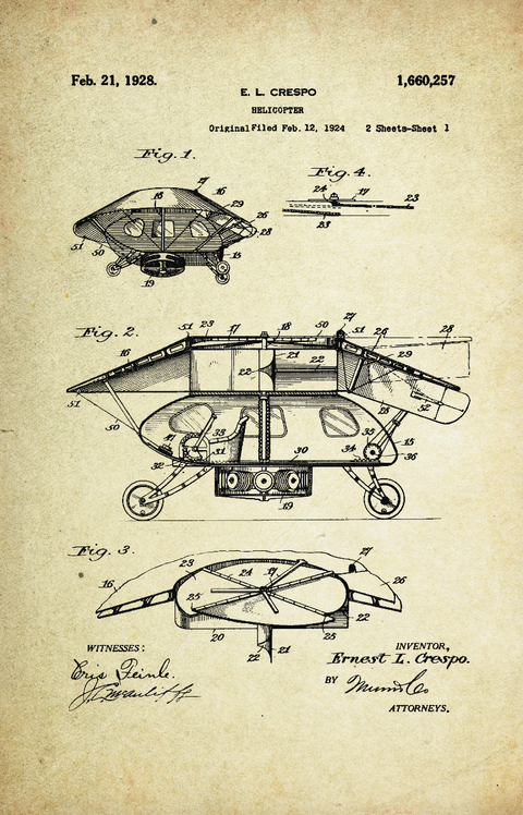 Helicopter (Old) Patent Poster (1928, E.L. Crespo)