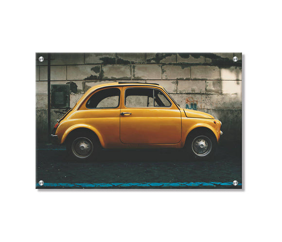 Vintage Fiat 500 Metal Wall Art Printed on Refined Aluminum