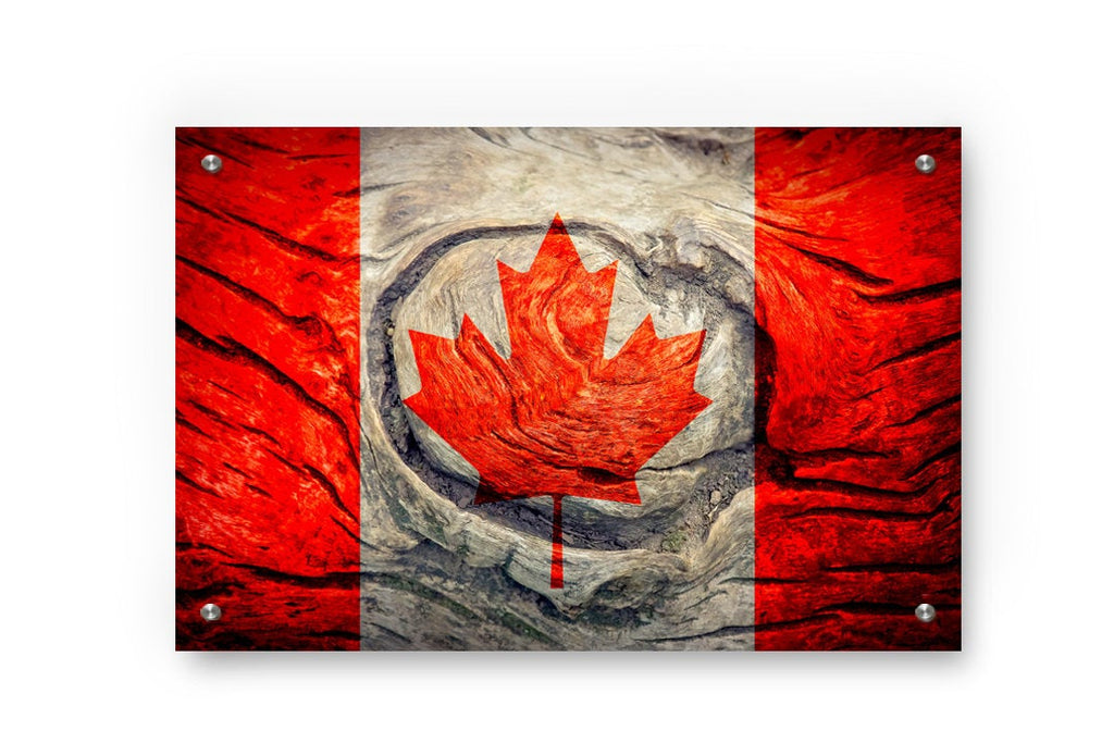 Canadian Flag Graffiti Wall Art Printed on Brushed Aluminum