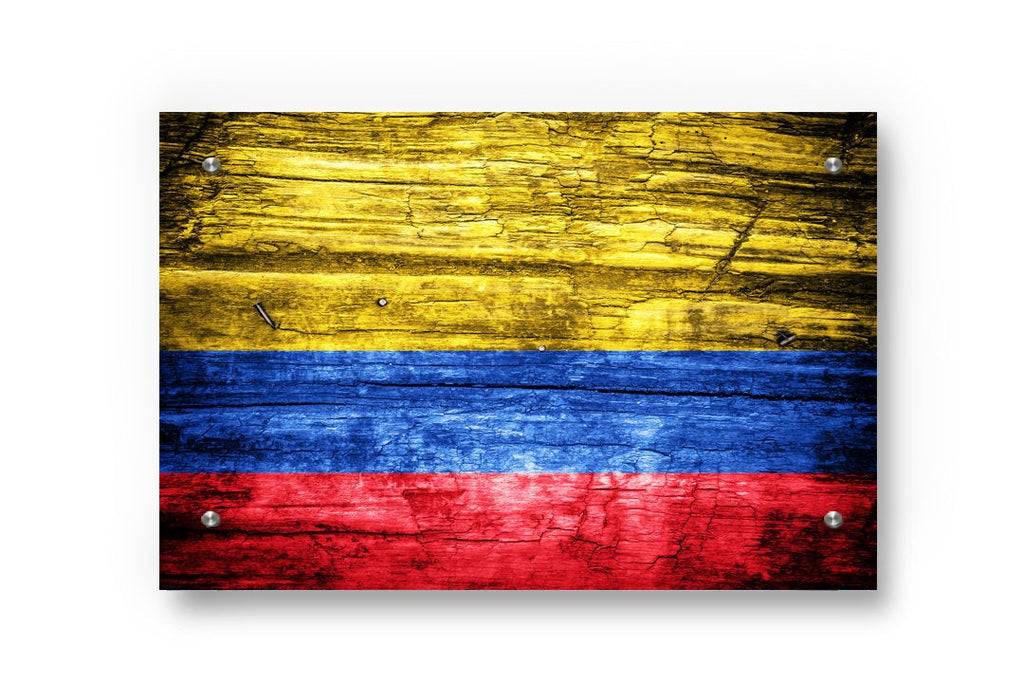 Colombian Flag Graffiti Wall Art Printed on Brushed Aluminum