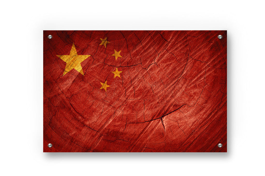 China Flag Graffiti Wall Art Printed on Brushed Aluminum