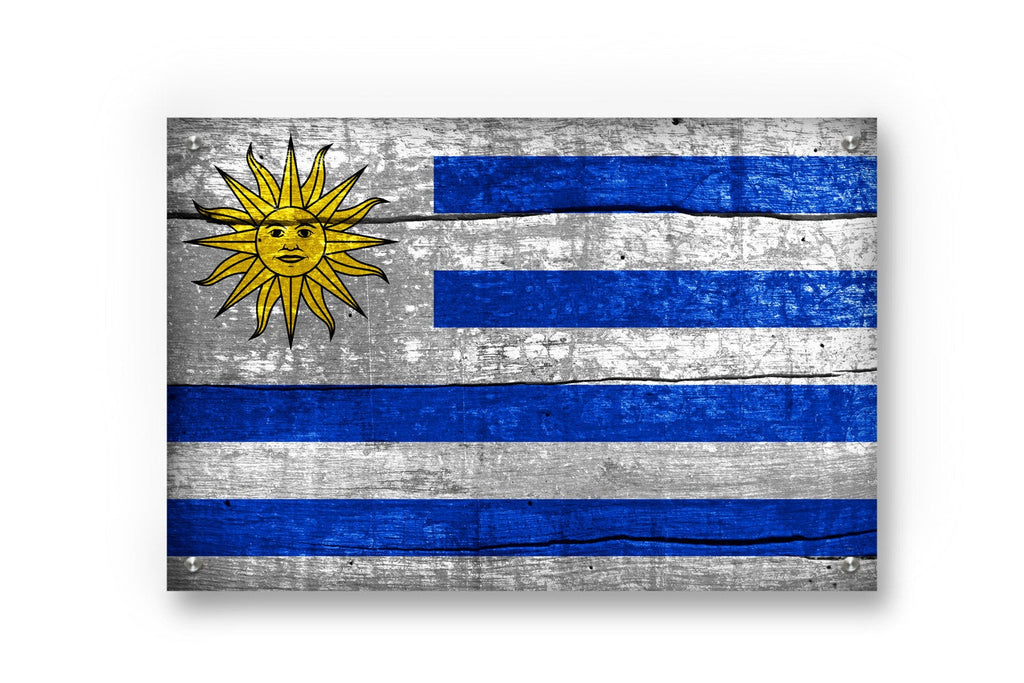 Uruguay Flag Graffiti Wall Art Printed on Brushed Aluminum