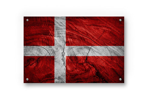 Denmark Flag Graffiti Wall Art Printed on Brushed Aluminum