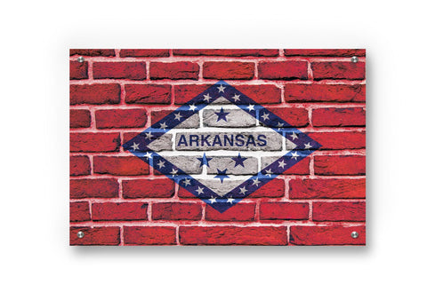 Arkansas State Flag Graffiti Wall Art Printed on Brushed Aluminum