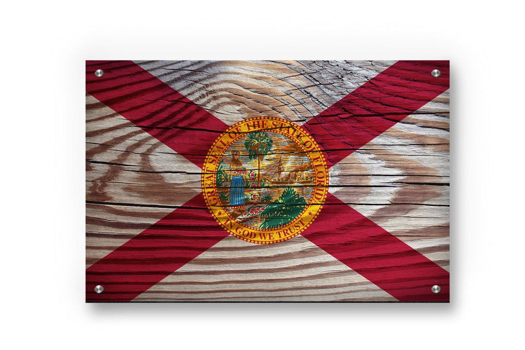 Florida State Flag Printed on Brushed Aluminum