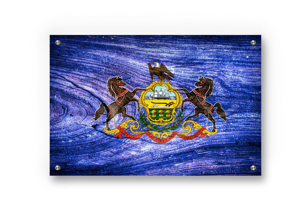Pennsylvania State Flag Graffiti Wall Art Printed on Brushed Aluminum
