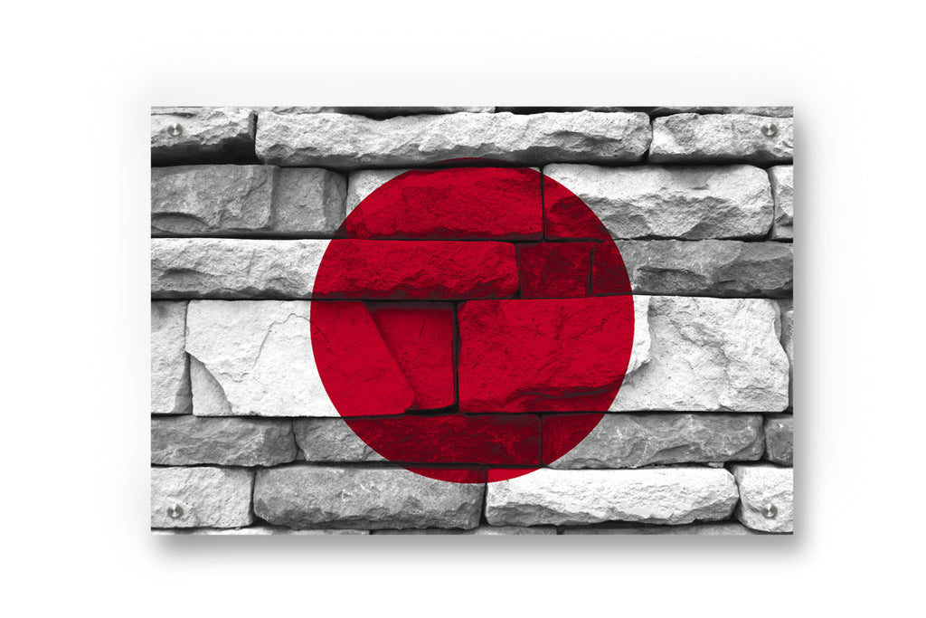Japan National Flag Graffiti Wall Art Printed on Brushed Aluminum