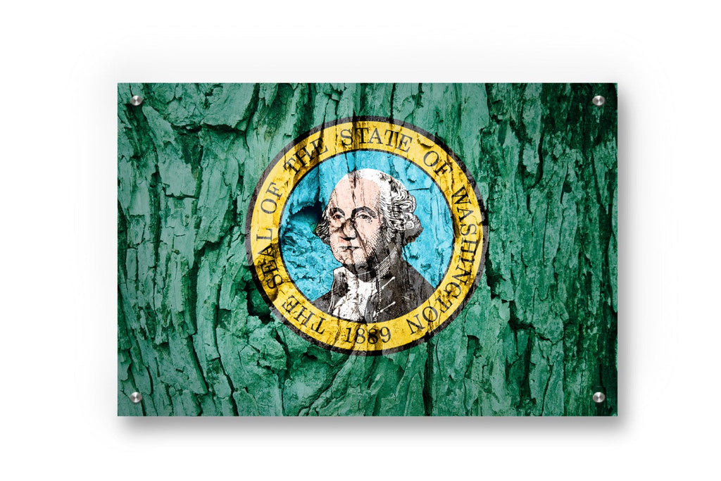 Washington State Flag Graffiti Wall Art Printed on Brushed Aluminum
