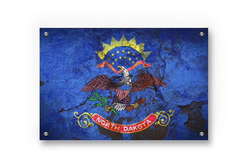 North Dakota State Flag Graffiti Wall Art Printed on Brushed Aluminum
