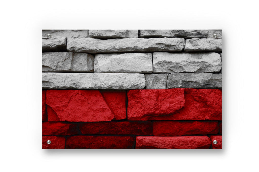 Poland Flag Graffiti Wall Art Printed on Brushed Aluminum