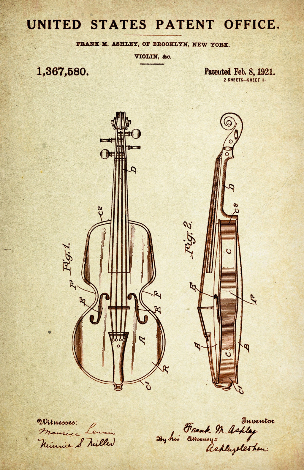 Violin Patent Poster Wall Decor (1921 by Frank M. Ashley)