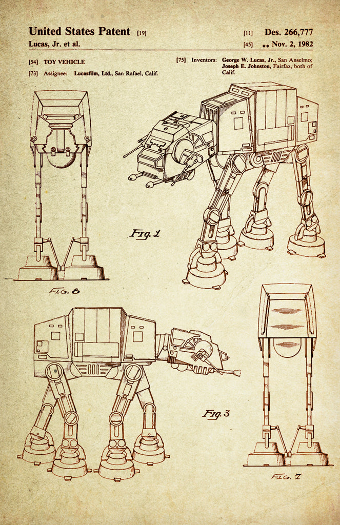 Star Wars AT-AT (All Terrain Armored Transport) Patent Poster Wall Decor (Registered in 1982 by George W Lucas Jr)