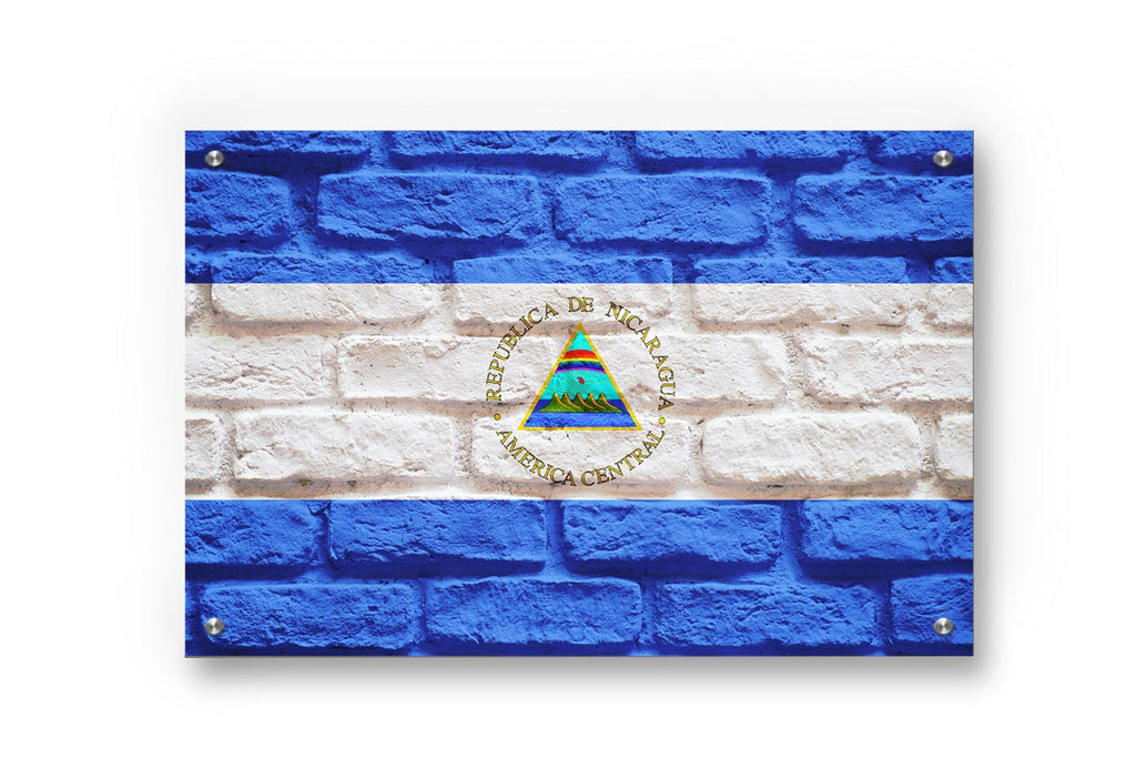 Nicaragua Flag Graffiti Wall Art Printed on Brushed Aluminum