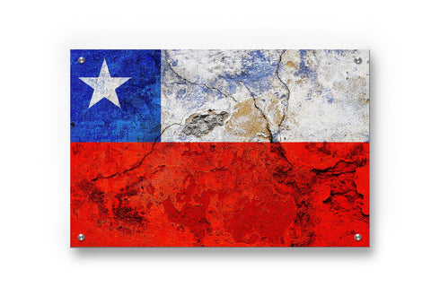 Chile National Flag Graffiti Wall Art Printed on Brushed Aluminum