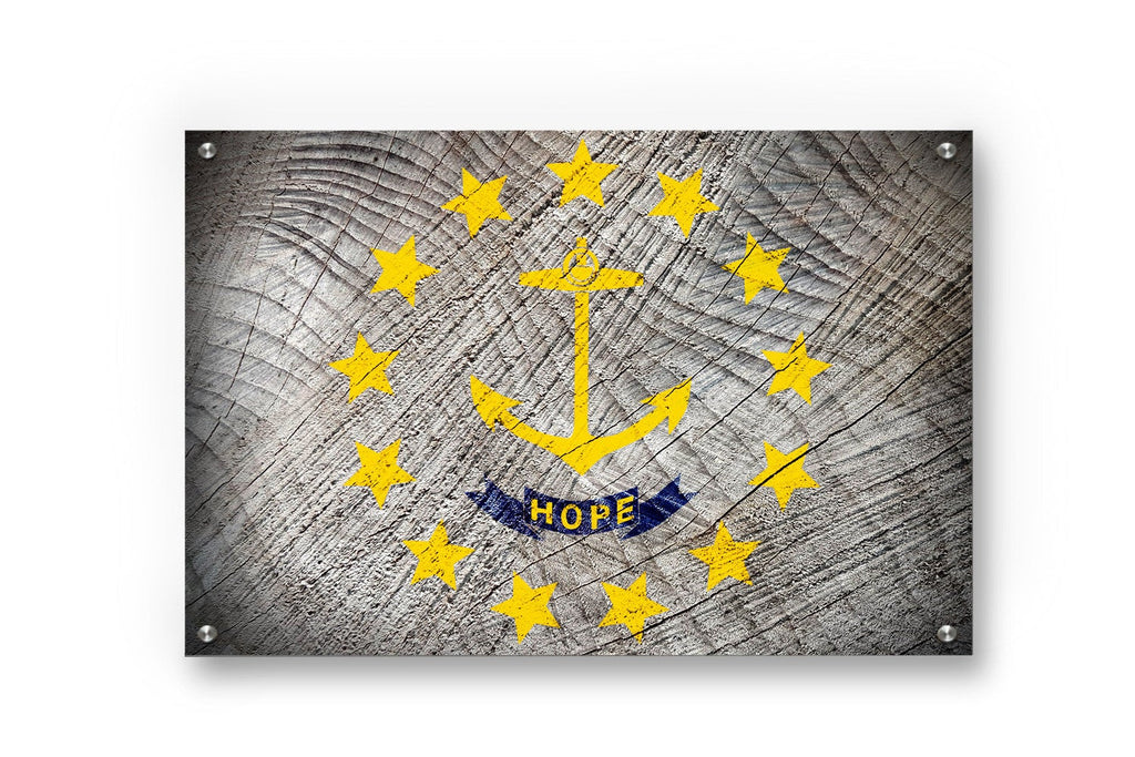 Rhode Island State Flag Graffiti Wall Art Printed on Brushed Aluminum