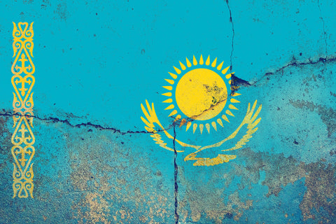 Kazakhstan Flag Graffiti Wall Art