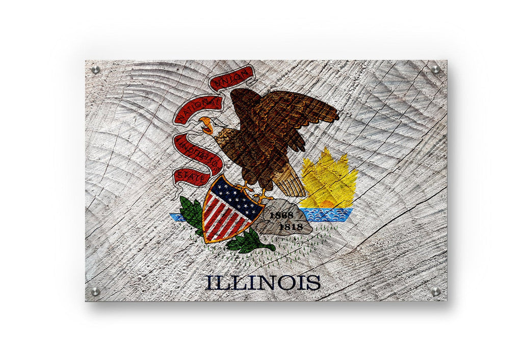 Illinois State Flag Graffiti Wall Art Printed on Brushed Aluminum