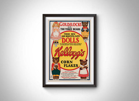 Goldilocks & the Three Bears Cloth Dolls Kellogg's Corn Flakes Vintage Ad