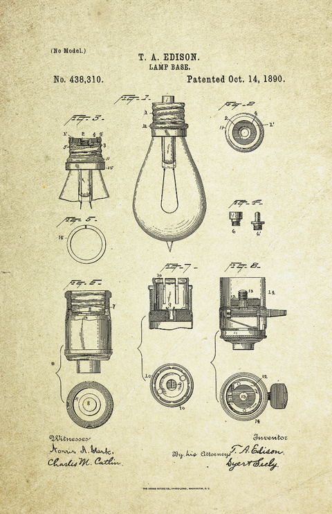 Lamp Base Patent Poster (1890, Thomas Edison)