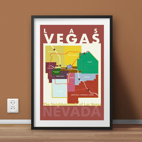 Las Vegas Neighborhood Map Wall Art