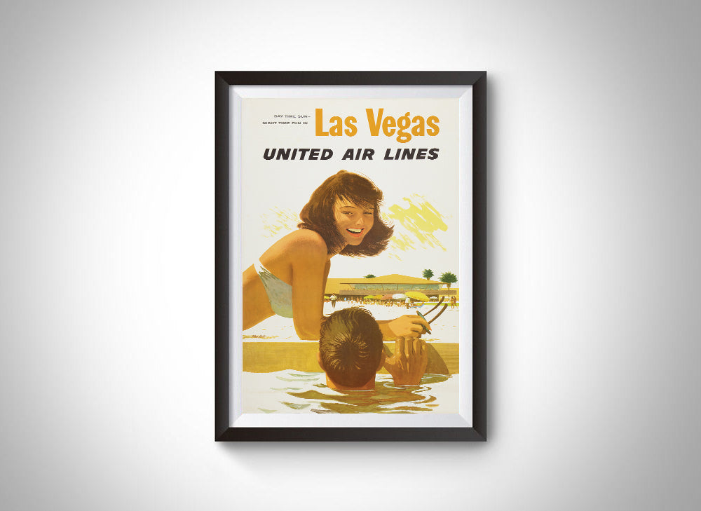 Las Vegas, United Airlines Vintage Ad Poster
