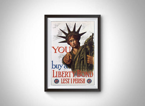 Buy a Liberty Bond Lest I Perish (1917) Vintage Ad Poster